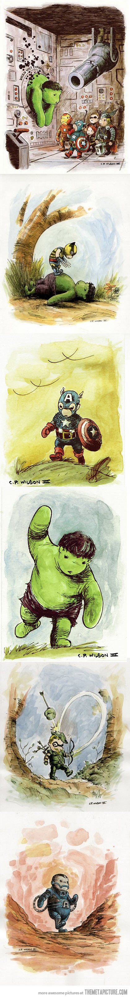 The Avengers in the style of Winnie the Pooh…