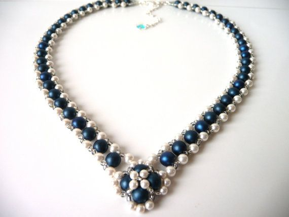 Pearl and Midnight Blue Beaded Woven Jewelry Necklace, Bridal Statement Jewelry Necklace, V Shaped, Right Angle Weave, Wedding Jewelry