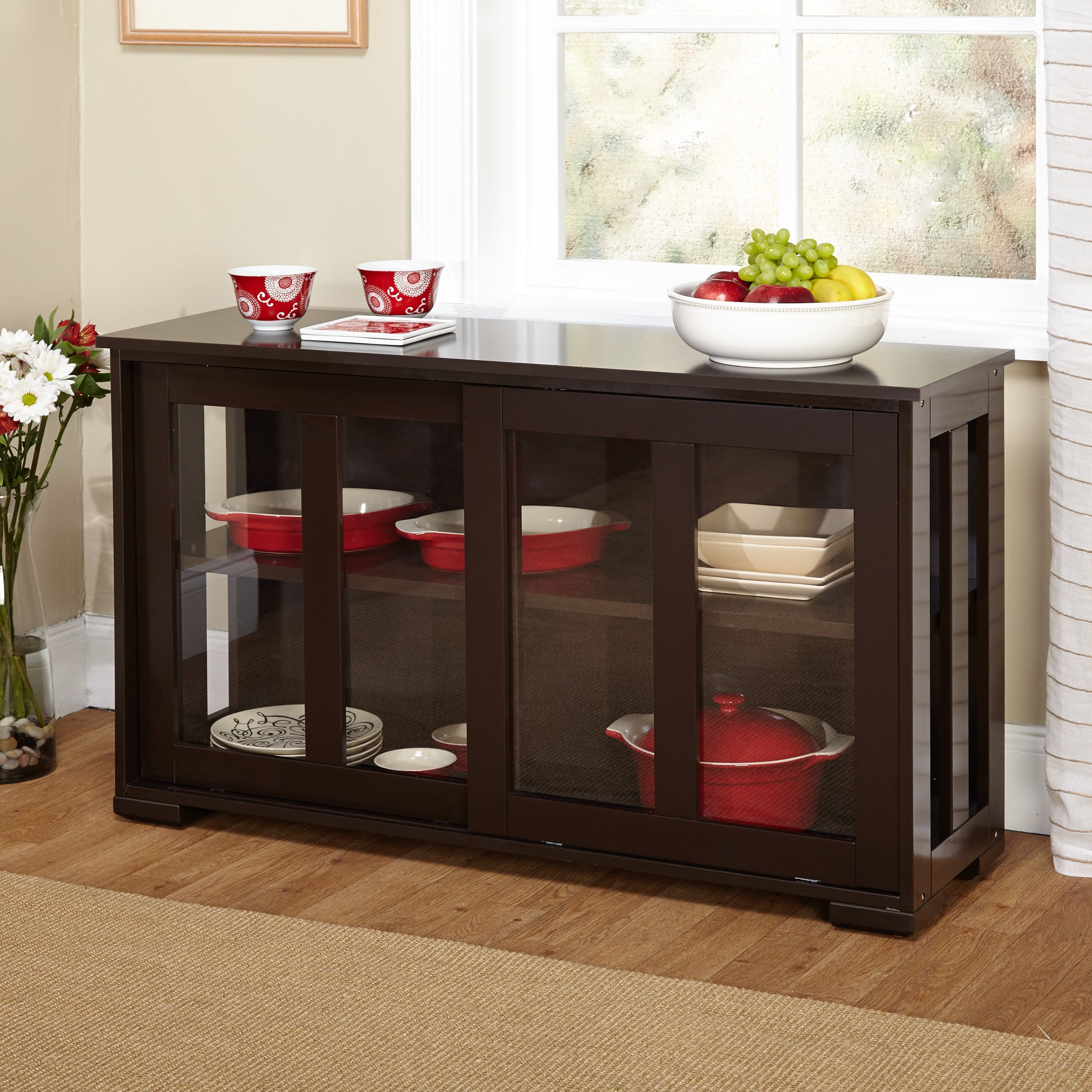 Blending Traditional And Modern Designs This Stackable Cabinet Features See Through Tempered Glass Doors