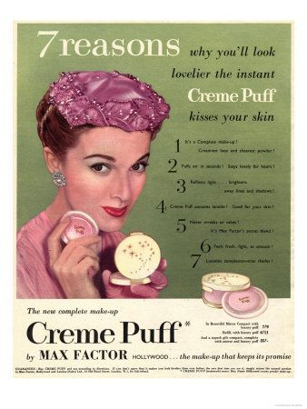 Max Factor, Creme Puff Foundation Powder Make-Up, UK, 1950 Giclee Print at AllPosters.com #cremepuff