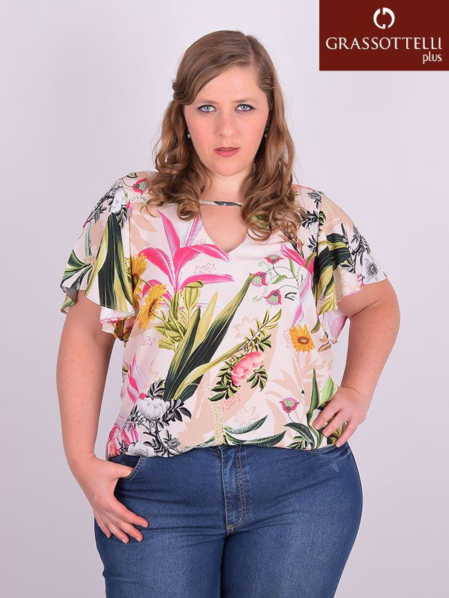 7023ddf39 Blusa Manga Curta Viscose Estampada Plus Size in 2019 | Blusas Plus ...