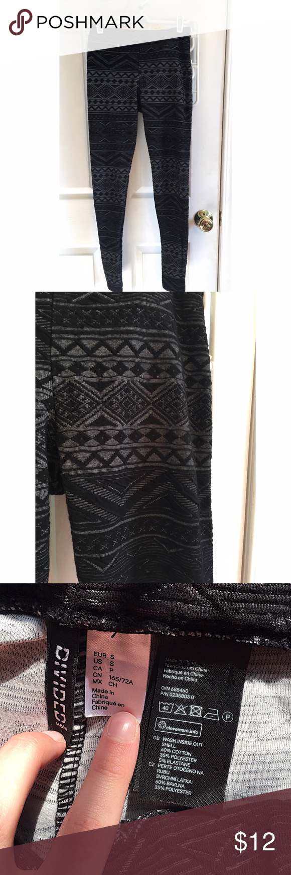 H&M Black Tribal Leggings -Divided by H&M -Women's Leggings -Size Small -Black Patterned Leggings  -In Perfect Condition  -No Flaws Ask if any questions! H&M Pants Leggings