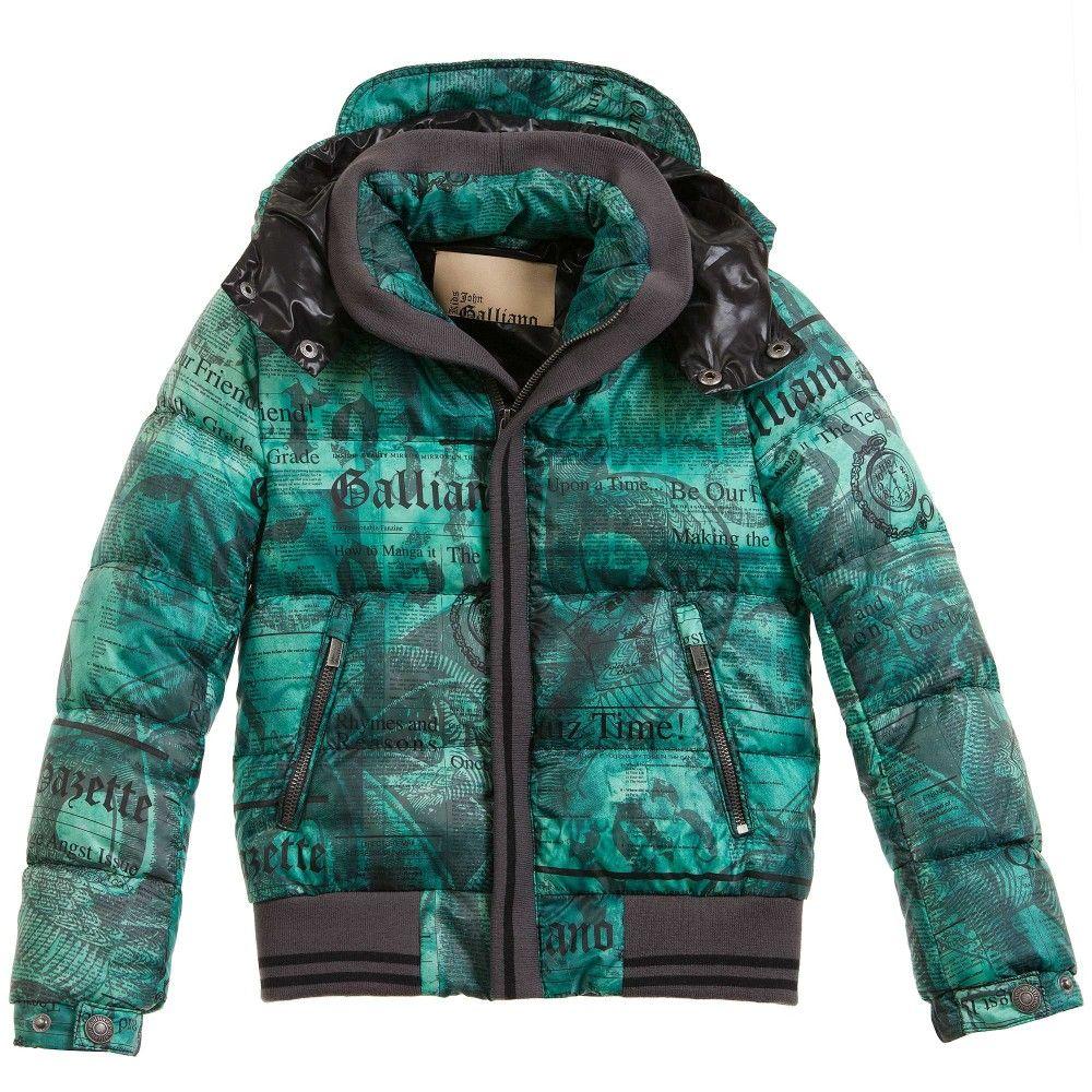 7666422851b2 Boys Green Gazette Print Down Padded Jacket