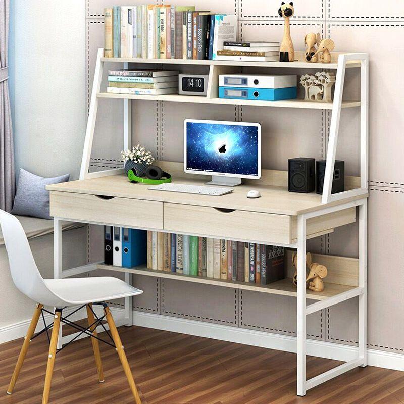 Computer Desk Table Shelf Drawer Office Study Student Furniture In 2020 Bookshelf Desk Simple Bookshelf Modern Computer Desk