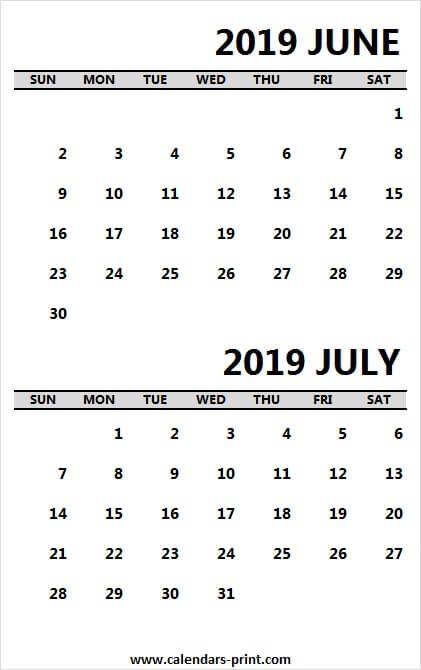 Printable Calendar June And July 2019 June Calendar Printable