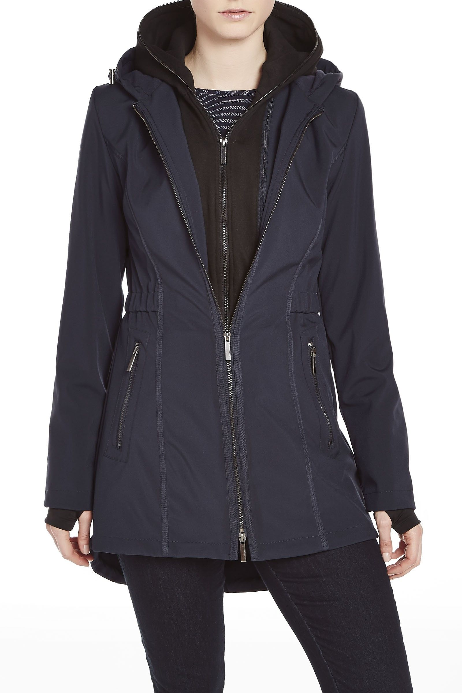French Connection Zip Out Hooded Softshell Coat | French