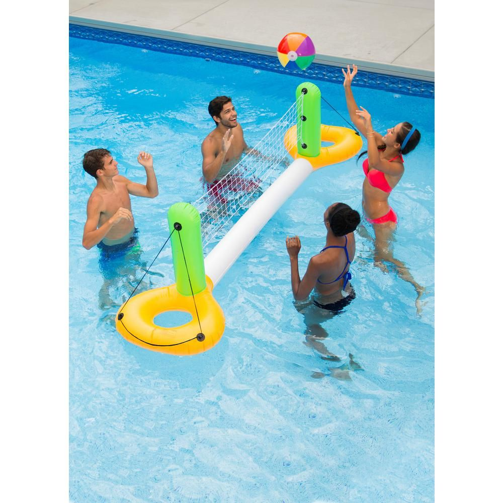 Ocean Blue Floating Volleyball Game White In 2020 Cool Pool Floats Cute Pool Floats Swimming Pool Games