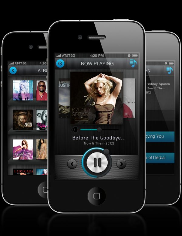 Simple Concept iPhone Music Player by Kiran Pingle, via
