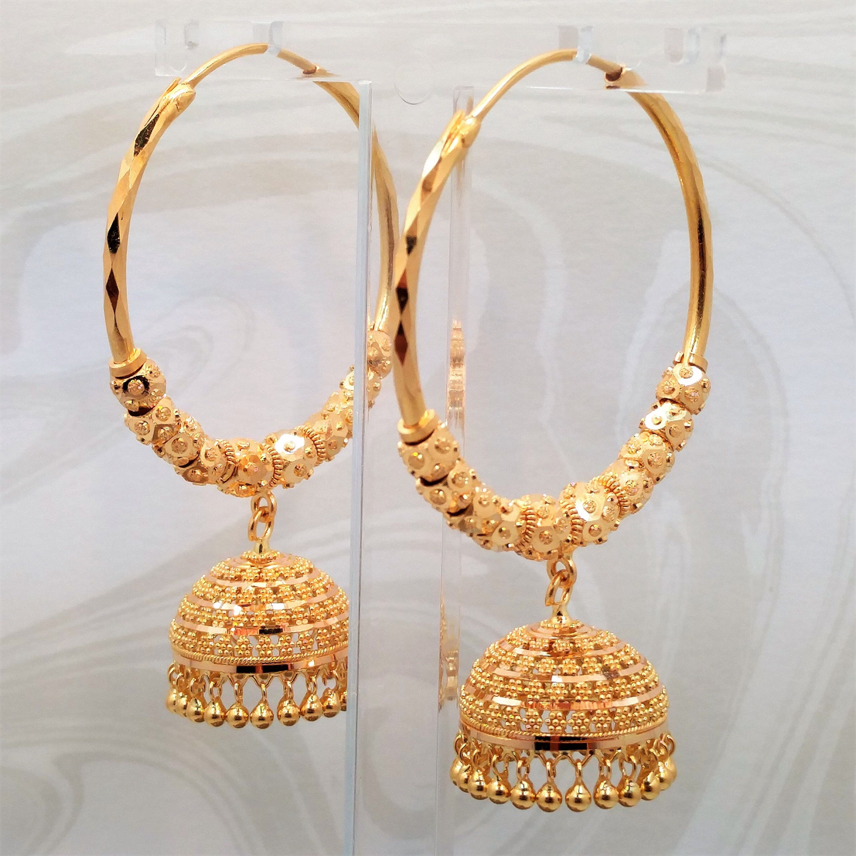 GOLDSHINE Genuine 22K Solid Yellow Gold Earrings Hoop Bali ...
