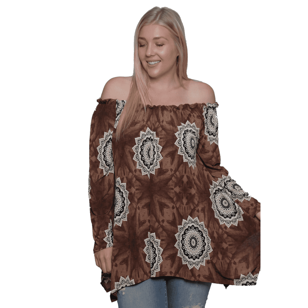 eca316f5fd9 Women s Plus Size Off The Shoulder Sunflower Blouse Top Made in USA 1X 2X 3X