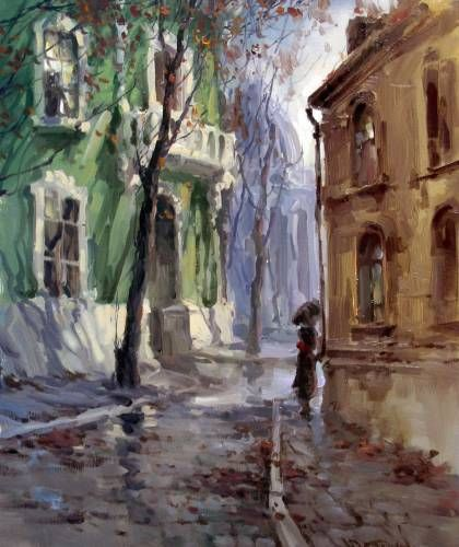 Картины (живопись) : Поздняя осень в городе   Роспись ...