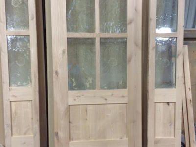 36x80 4 Lite Craftsman Entry Door Unit With Matching Sidelites Prehung On Knotty Alder Exteri Wood Exterior Door Front Doors With Windows Shaker Style Doors
