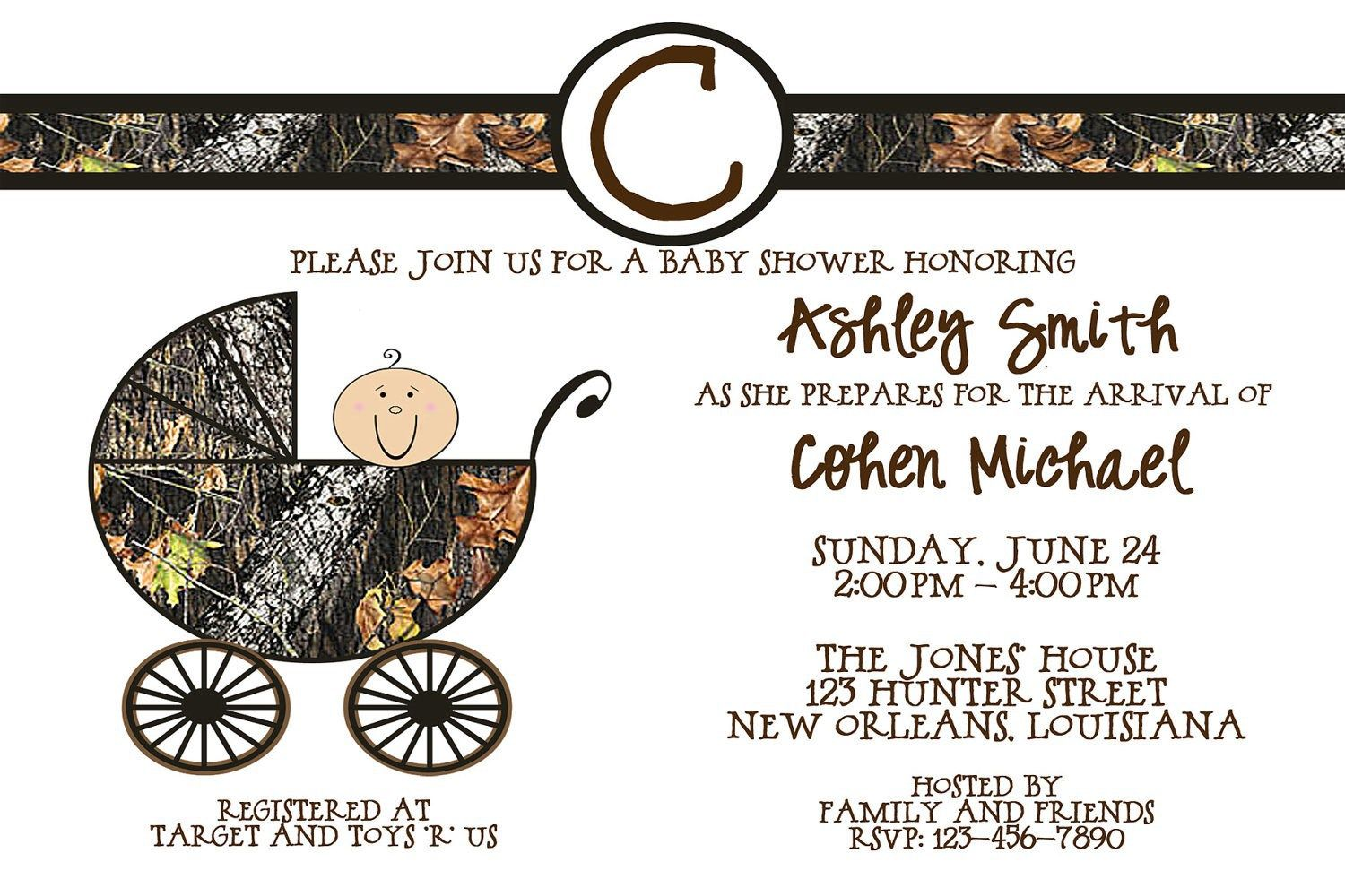 Free printable camouflage invitations free printable camo baby mossy oak camo carriage baby shower by lovebandpdesigns on etsy filmwisefo