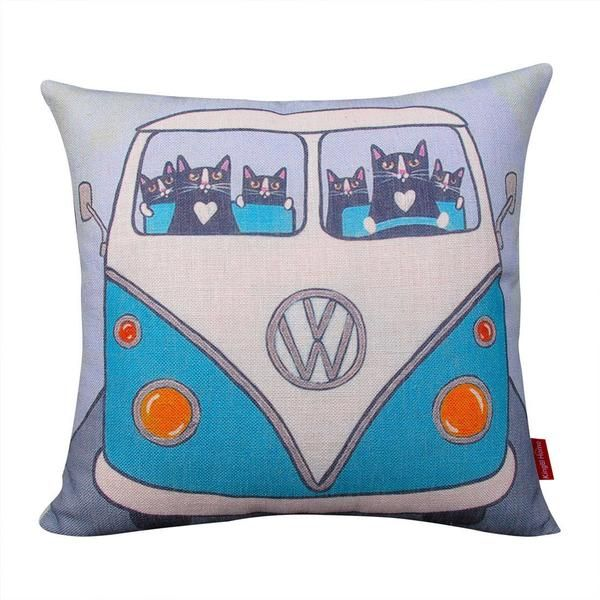 Retro Vw Bus With Cat Drivers Pillow Cat Throw Pillow Decorative Throw Pillow Covers Pillows