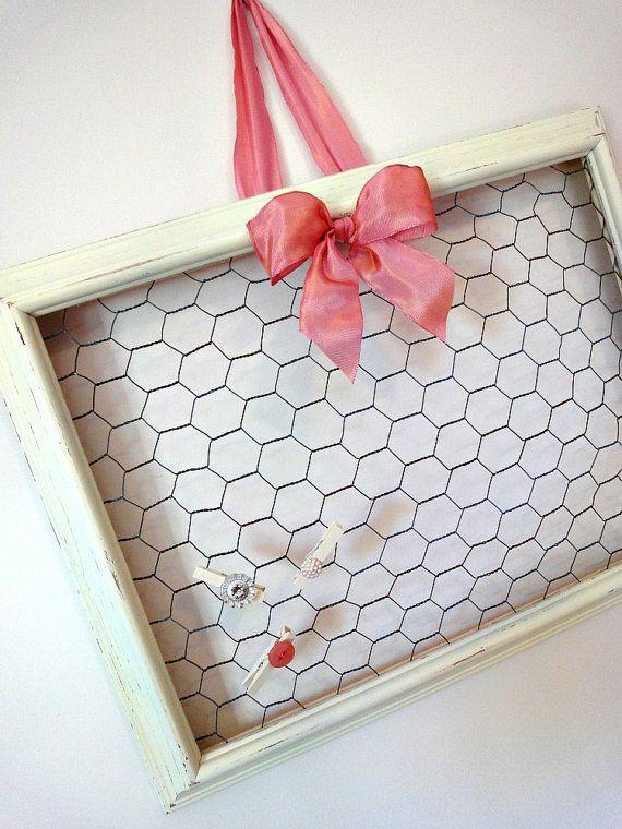 Rustic Chicken Wire Memo Board with Three Mini by farmhousepretty ...