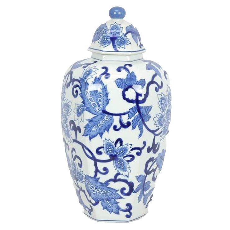 White Blue Ceramic Jar 14 5 In 2020 Ceramic Jars Blue Ceramics White Ceramics