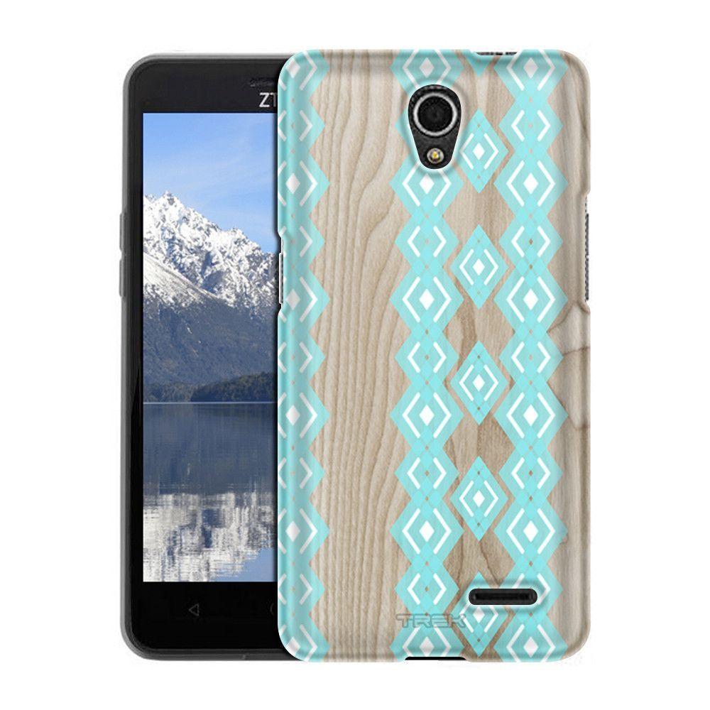 ZTE Chapel Turquoise Diamond Pattern on Wood Slim Case