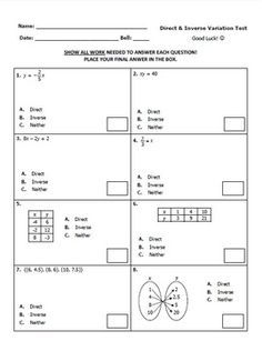 Worksheet on Direct and inverse variation - Google Search | Math ...