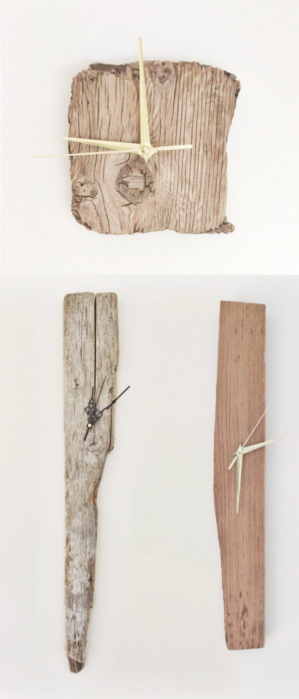 34 wooden wall clocks to warm up your interior wooden furniture driftwood wall clocks easy on the eye and the budget the sea side home could bring the outside in with these original driftwood shapes amipublicfo Image collections