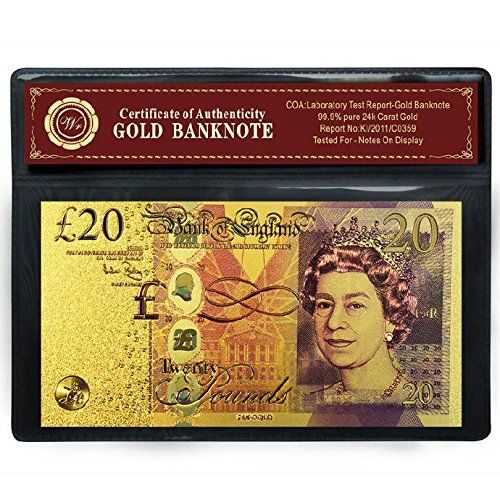 Wr UK Colored 20 Pounds Bill 24k Gold Banknote British Pound Note Free COA Frame
