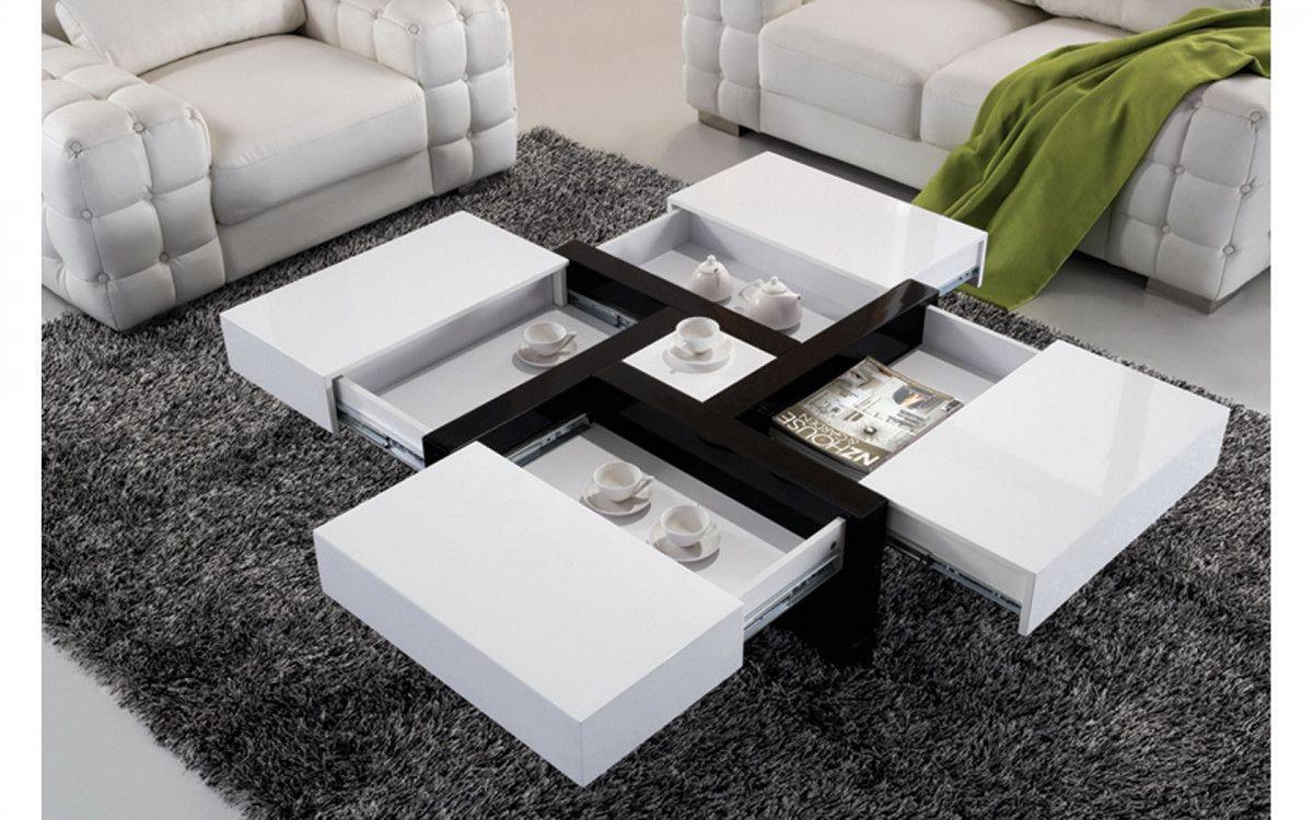 table basse carree noir et blanc laque
