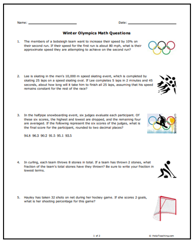 free winter olympics math word problems for middle school students get your middle school math. Black Bedroom Furniture Sets. Home Design Ideas