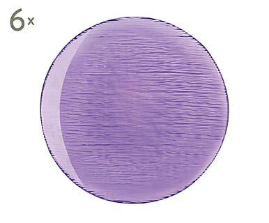 Set de 6 platos de postre de vidrio Scratch, lila - Ø20,5 cm