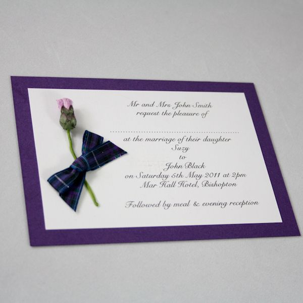 Tartan thistle wedding invitation pride of scotland for Pocketfold wedding invitations scotland