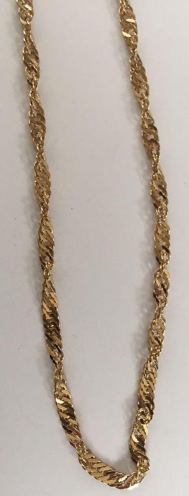 14 K Gold Plated Twist Chain Necklace Bracelet Set Yellow Womens Fashion Jewelry   eBay
