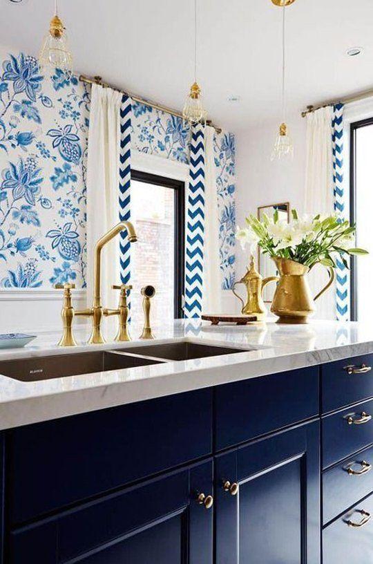 Superior Trend Alert: Navy, Marble U0026 Brass In The Kitchen U0026 Bath