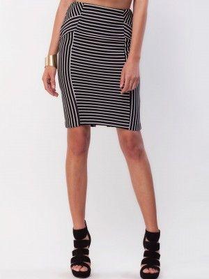 c27bc50c1 New Look Geometric Stripe Pencil Skirt buy from koovs.com   midi ...