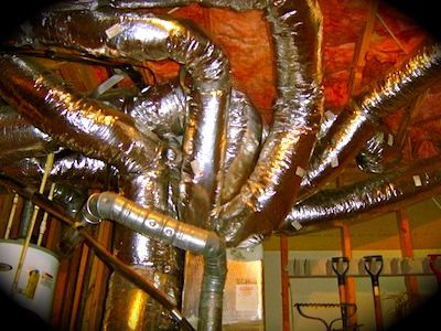 This would be a great ceiling effect using metallic air duct from H. Depot. Perfect for an Alien themed haunt, or to create a tentacled creature.