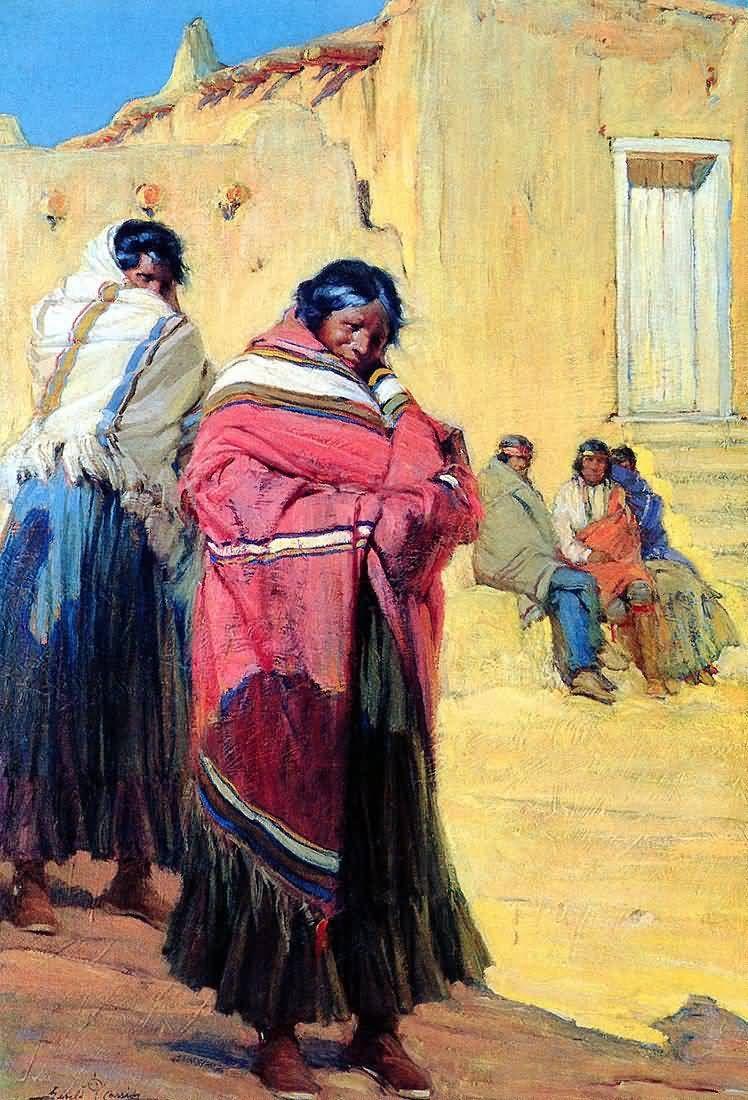 Gerald cassidy indians outside taos pueblo taos art