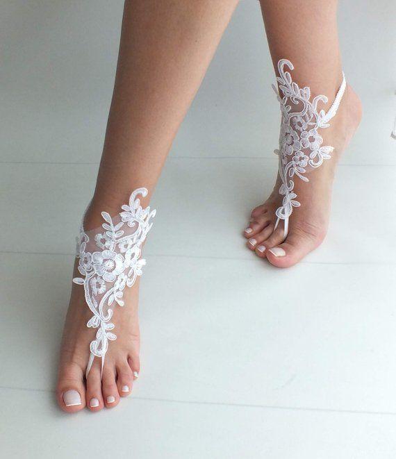 51aad08e94c7 White Beach wedding barefoot sandals wedding shoes beach shoes ...