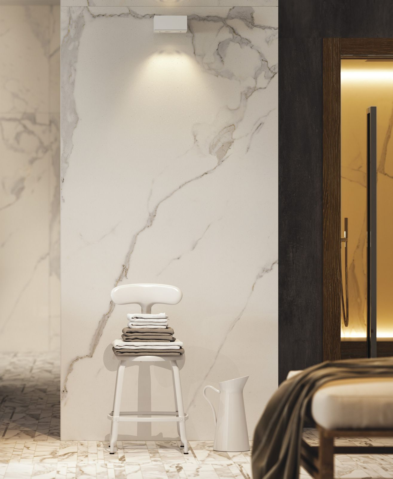 Indoor Porcelain Stoneware Wall Tiles With Marble Effect Infinity Collection