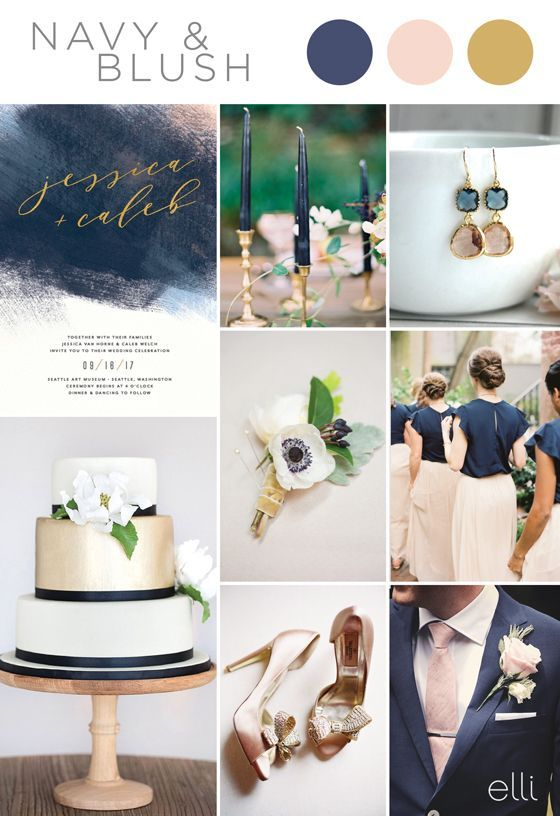 Five Stunning Navy Blue Color Palettes for 2017 Weddings | Ideal ...