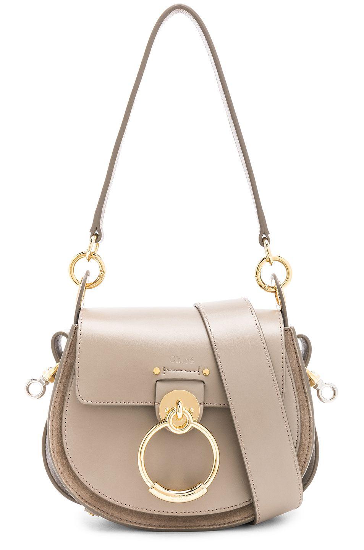 1447419c873fc Image 1 of Chloe Small Tess Shiny Calfskin Shoulder Bag in Motty Grey
