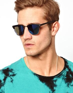 43c5d45ae Enlarge ASOS Clubmaster Sunglasses With Blue Mirror Lens   Get Up ...