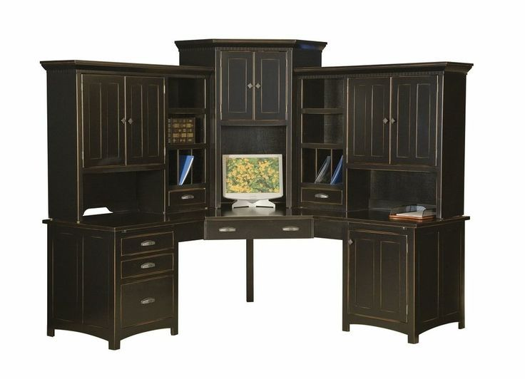 Large Amish Corner Computer Center Desk Hutch Home Office Wood Black With