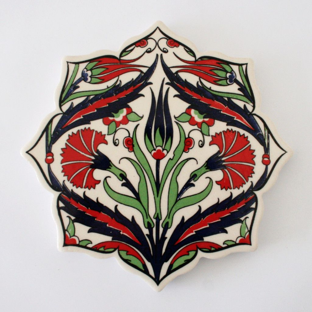 Traditional Turkish Ottoman Red Flower Home Decor Mosaic: A Turkish Ceramic, Printed Hot Plate With Iznik Ottoman