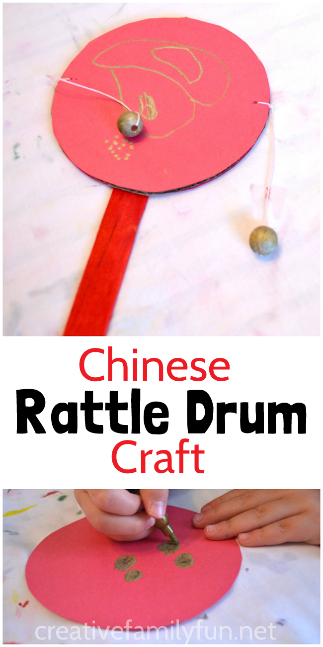 chinese rattle drum craft creative family fun from the blog chinese new year crafts. Black Bedroom Furniture Sets. Home Design Ideas
