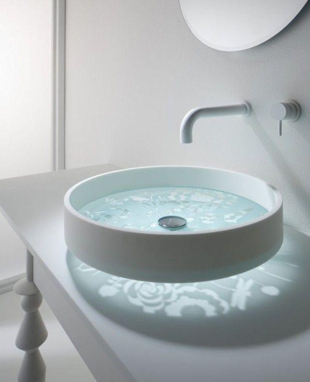 Photo Gallery Website Modern Powder Room with Vessel sink Omvivo Motif Basin Forest Glass Powder room