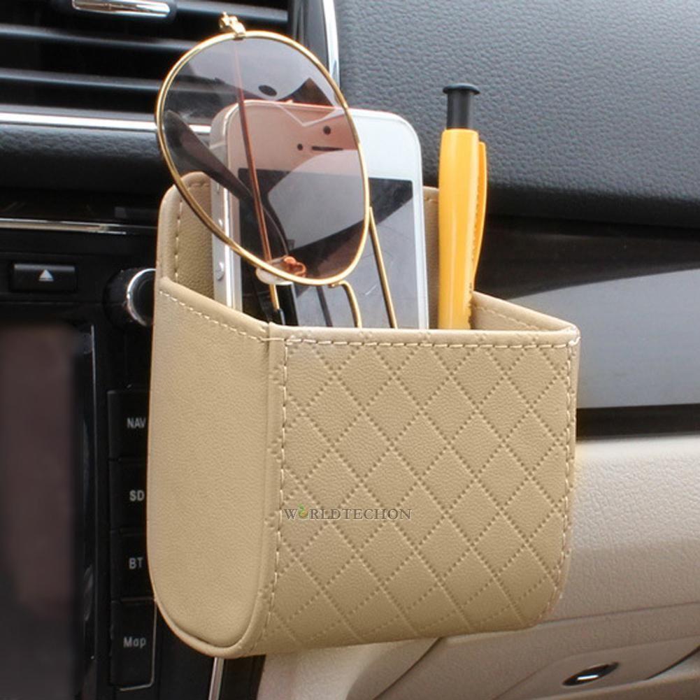 Car Black Organizer Bag Storage Phone Pocket Outlet Air Vent Hanging Holder Bag