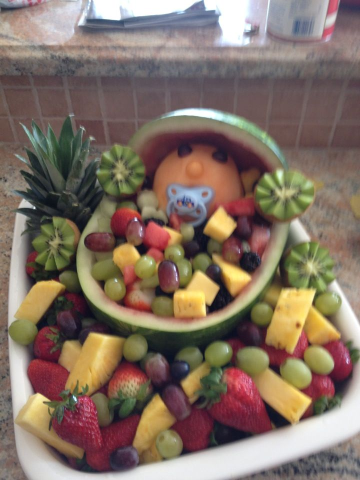 Cute baby shower fruit bowl holiday decorations for Baby shower fruit decoration ideas