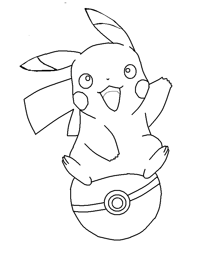 Pikachu on a pokeball base by shqandy on deviantart for Picachu coloring pages
