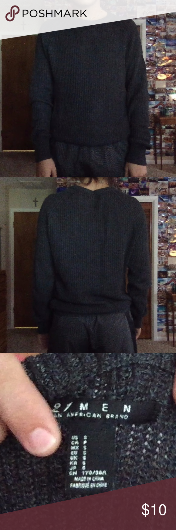 men's grey fisherman sweater super comfy and oversized fit