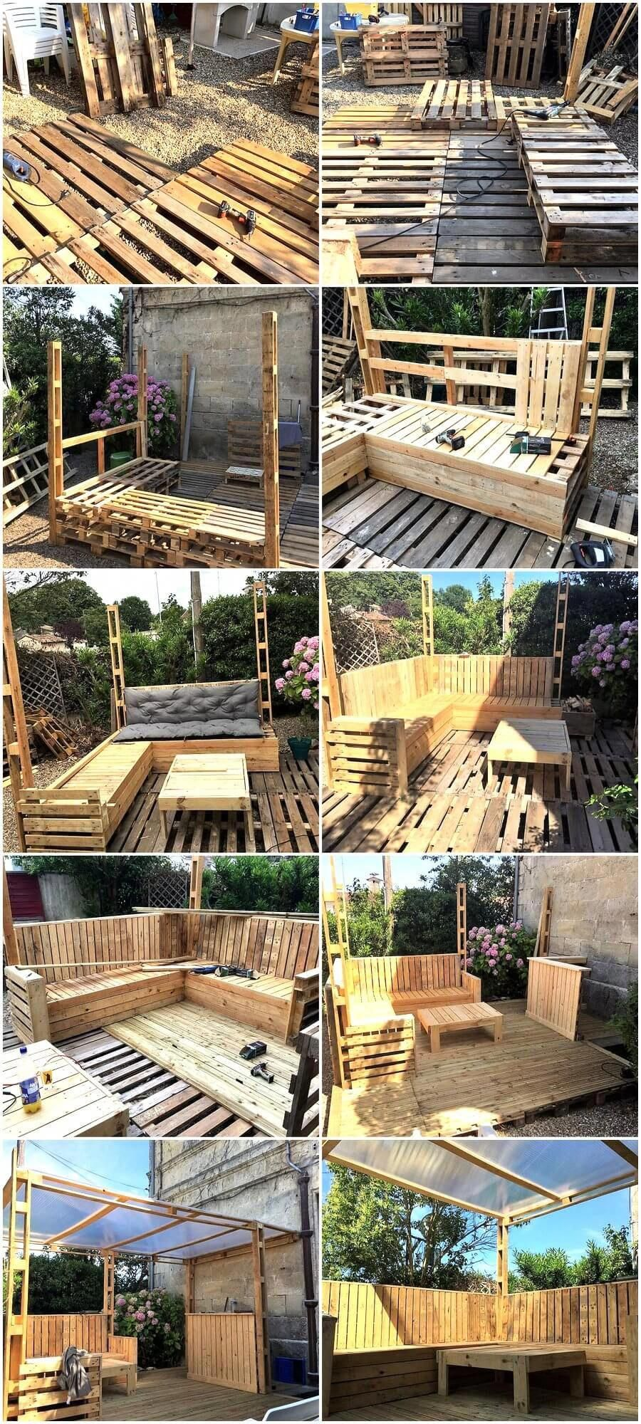 Diy Wood Pallets Patio Gazebo Deck With Furniture Plan Patio