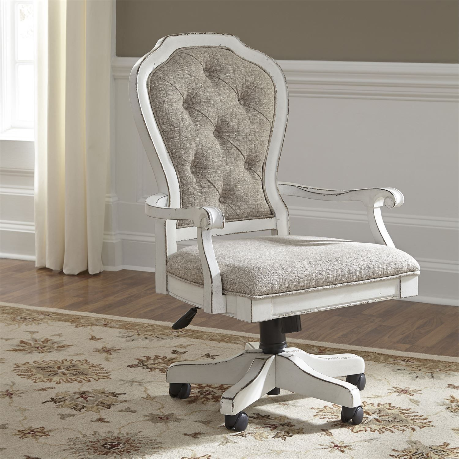 Magnolia Manor Antique White Jr Executive Desk Chair In 2020