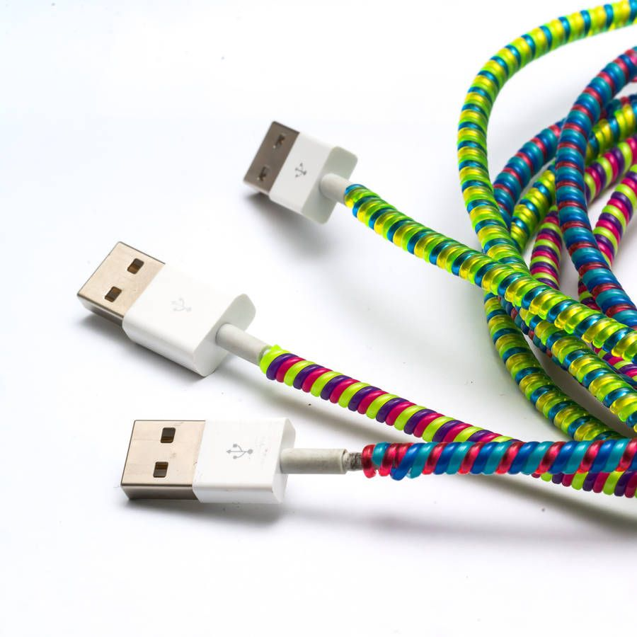 Colourful Charger Cord Wraps | Cord, Wraps and Spiral