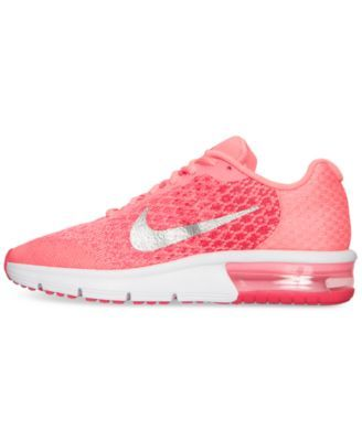 save off aeb29 bcb88 Nike Girls  Air Max Sequent 2 Running Sneakers from Finish Line - Red 5.5